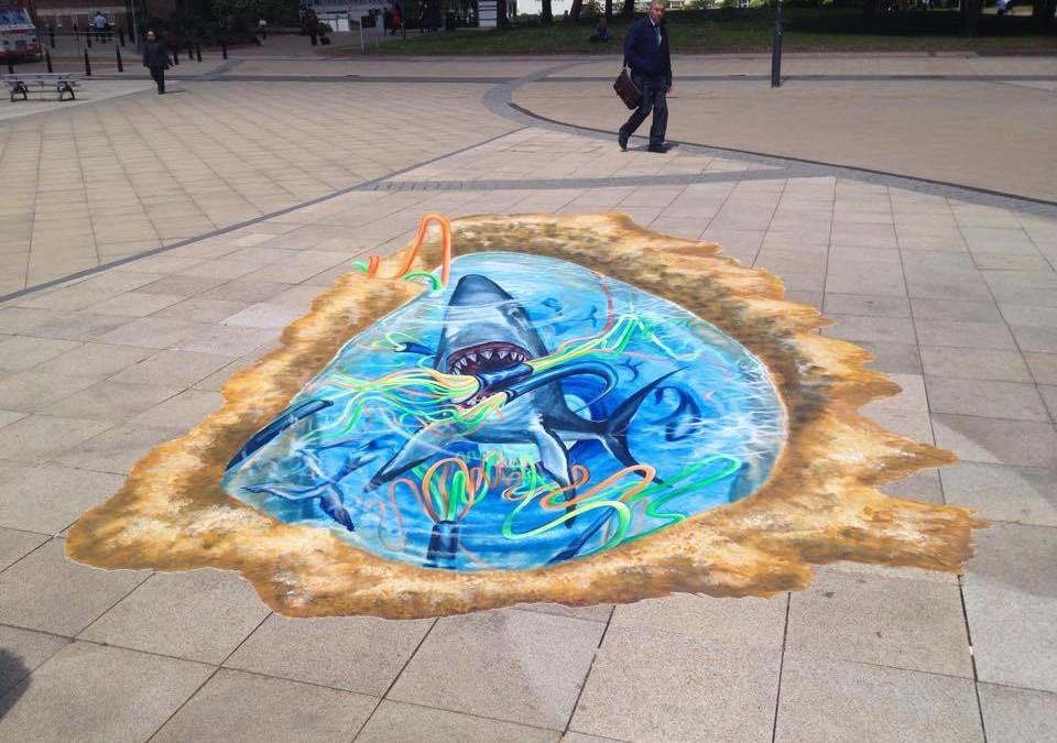 Lightfest Shark! 3D Street Art